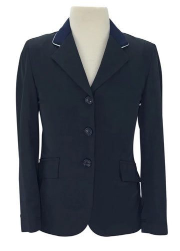 Grand Prix Techlite Hunt Coat in Navy with kight Blue Piping on collar
