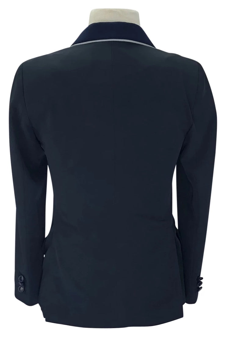 Back view of Grand Prix Techlite Hunt Coat in Navy with light blue piping