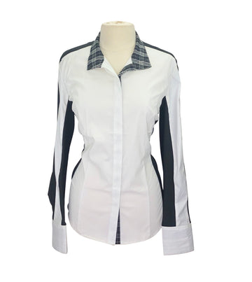 front view of Asmar Equestrian Noir Show Shirt in White/Black