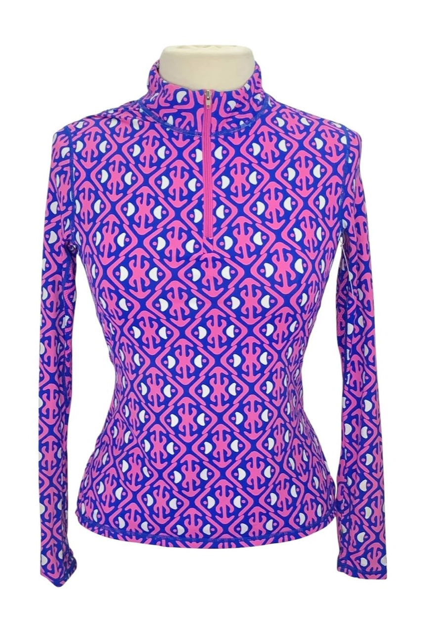front view of SolChill 1/4 Zip Sun Shirt in Pink/Blue Multi