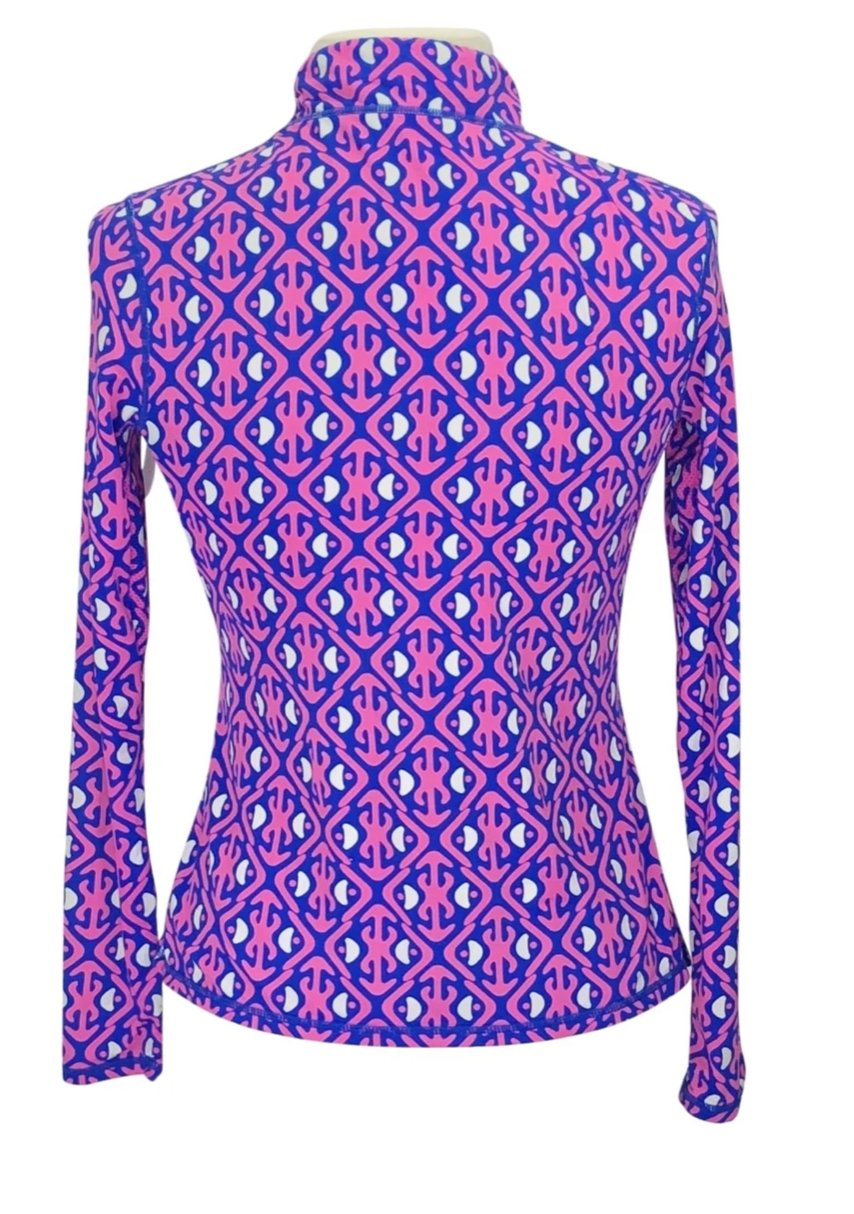 back view of SolChill 1/4 Zip Sun Shirt in Pink/Blue Multi