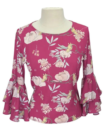 front view of Ronner Design Gitana Blouse in Jardin Red