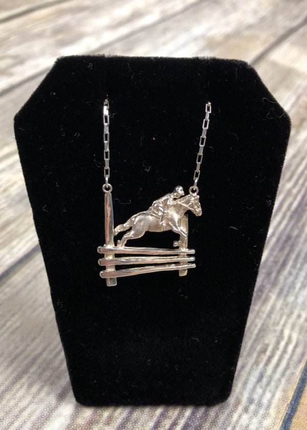 Jumping Horse Necklace in Sterling Silver/Square Cable Chain - 19""