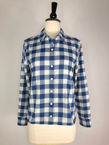Vineyard Vines Relaxed Carmel Buffalo Check Performance Flannel Button Down in Blue - Women's 4 | S