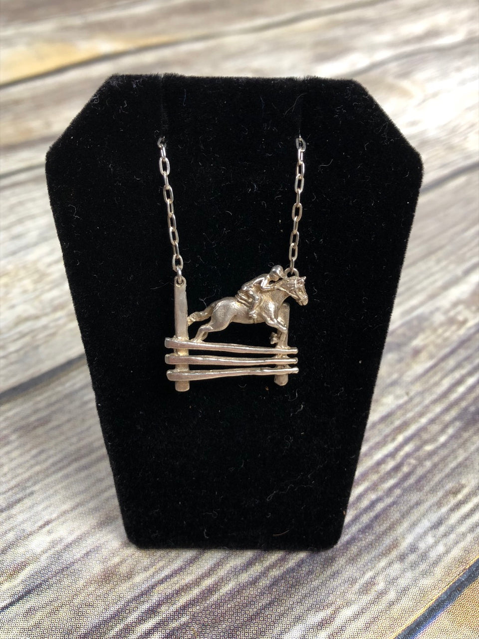 Jumping Horse Necklace in Sterling Silver/Cable Chain - 16.5""
