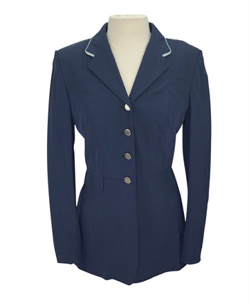 front view of Grand Prix Soft Shell Dressage Coat in Navy/Light Blue&Cream Trim