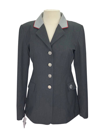 front view of Renard et Cheval Show Jacket in Charcoal/Red Piping