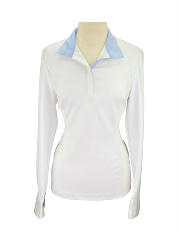 front view of Asmar Devon Technical Show Shirt in White/Light Blue