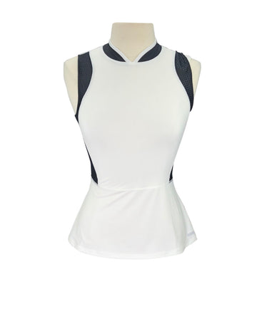 front view of Dover Saddlery Sleeveless Peplum Sport Top in White/Black