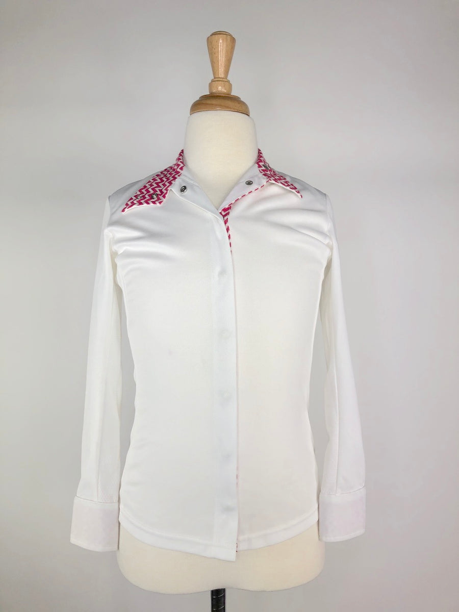 Dublin Dry Tech Competition Shirt in White/Pink Chevron -  Front View