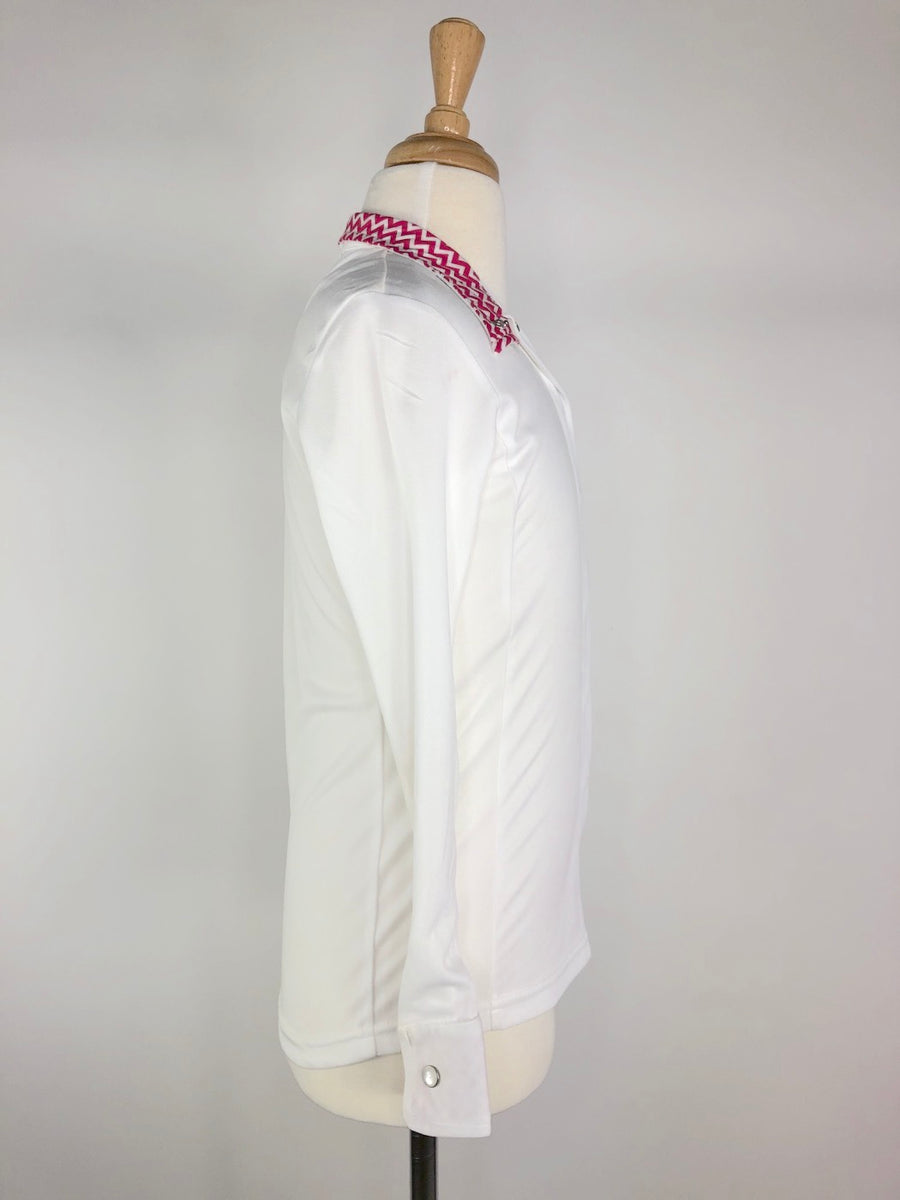 Dublin Dry Tech Competition Shirt in White/Pink Chevron -  Right Side View