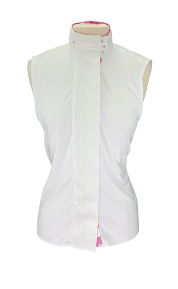 front view of Asmar Equestrian Sleeveless Show Shirt in White/Pink