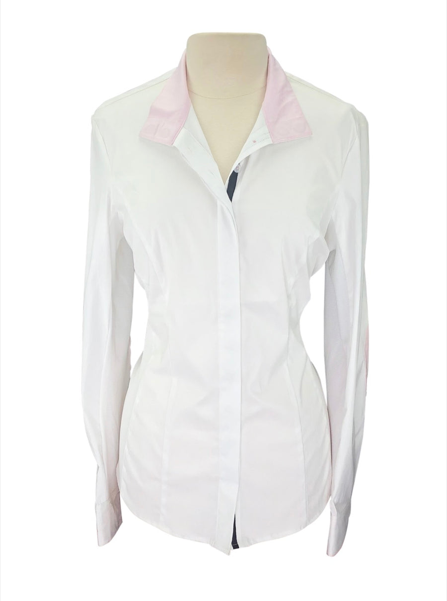 front view of Noel Asmar Wellington Mesh Show Shirt in White/Pink