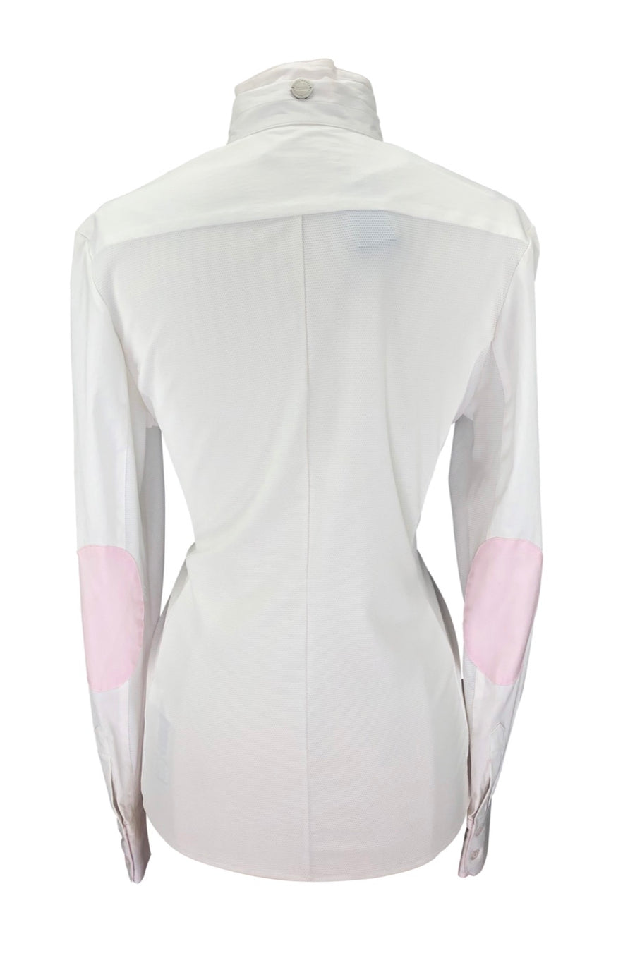 back view of Noel Asmar Wellington Mesh Show Shirt in White/Pink