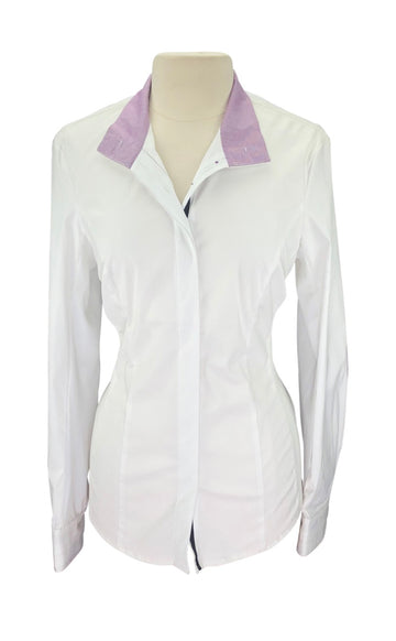 front view Noel Asmar Wellington Mesh Show Shirt in White/Purple