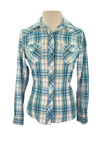 front view of Roper Long Sleeve Western Shirt in Blue Plaid