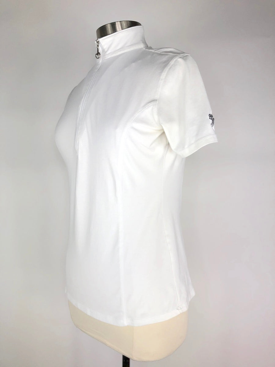 Goode Rider Ideal Short Sleeve Top in White - Left Side View