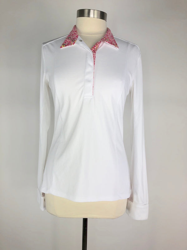 FITS Shade Show Shirt in White/Pink Floral  - Women's Medium