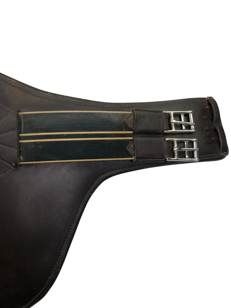 close up of elastic on Belly Guard Girth in Dark Brown