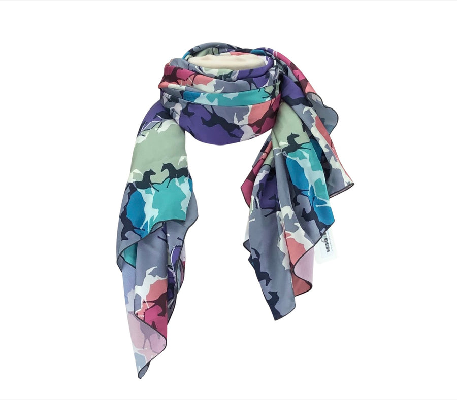 front view of Forza Cavallo Square Scarf in Multi Color Horses