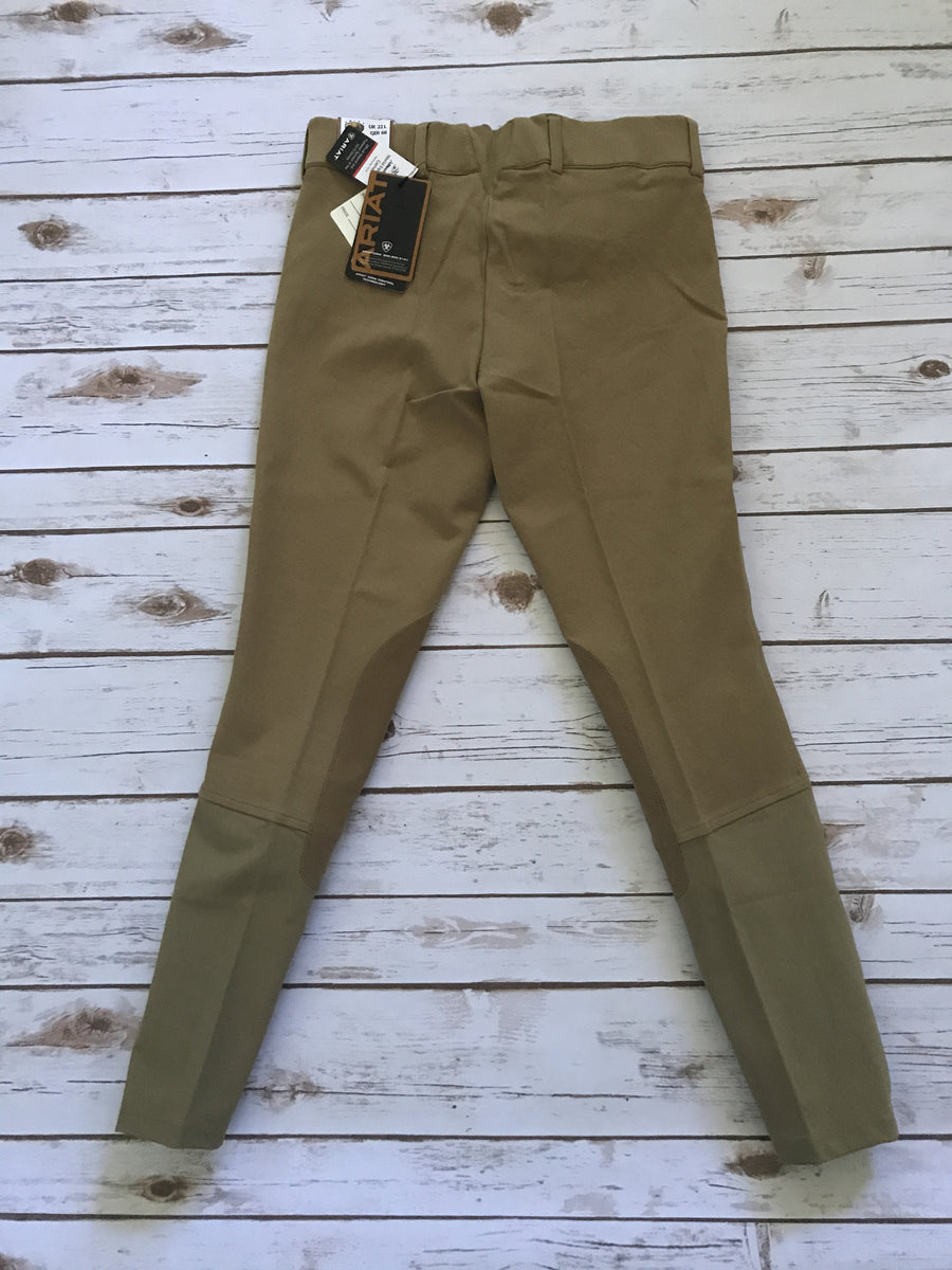 Ariat Heritage Low Rise Side Zip Breeches in Khaki- Back View