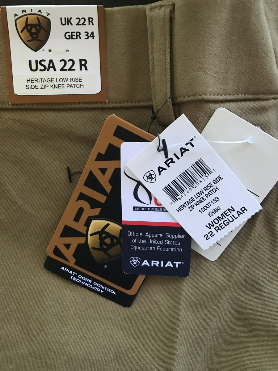 Ariat Heritage Low Rise Side Zip Breeches in Khaki- Size Tag View