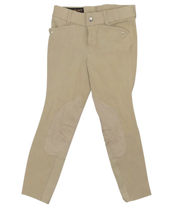 Front view Ariat Heritage Knee Patch Breeches in Tan