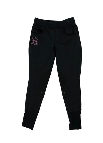 Front view Equine Couture Riding Club Pull-On Winter Breeches in Black