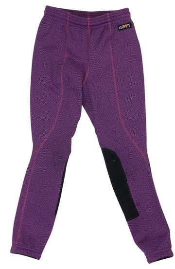 Front view Kerrits Fleece Performance Riding Tight in Purple Herringbone
