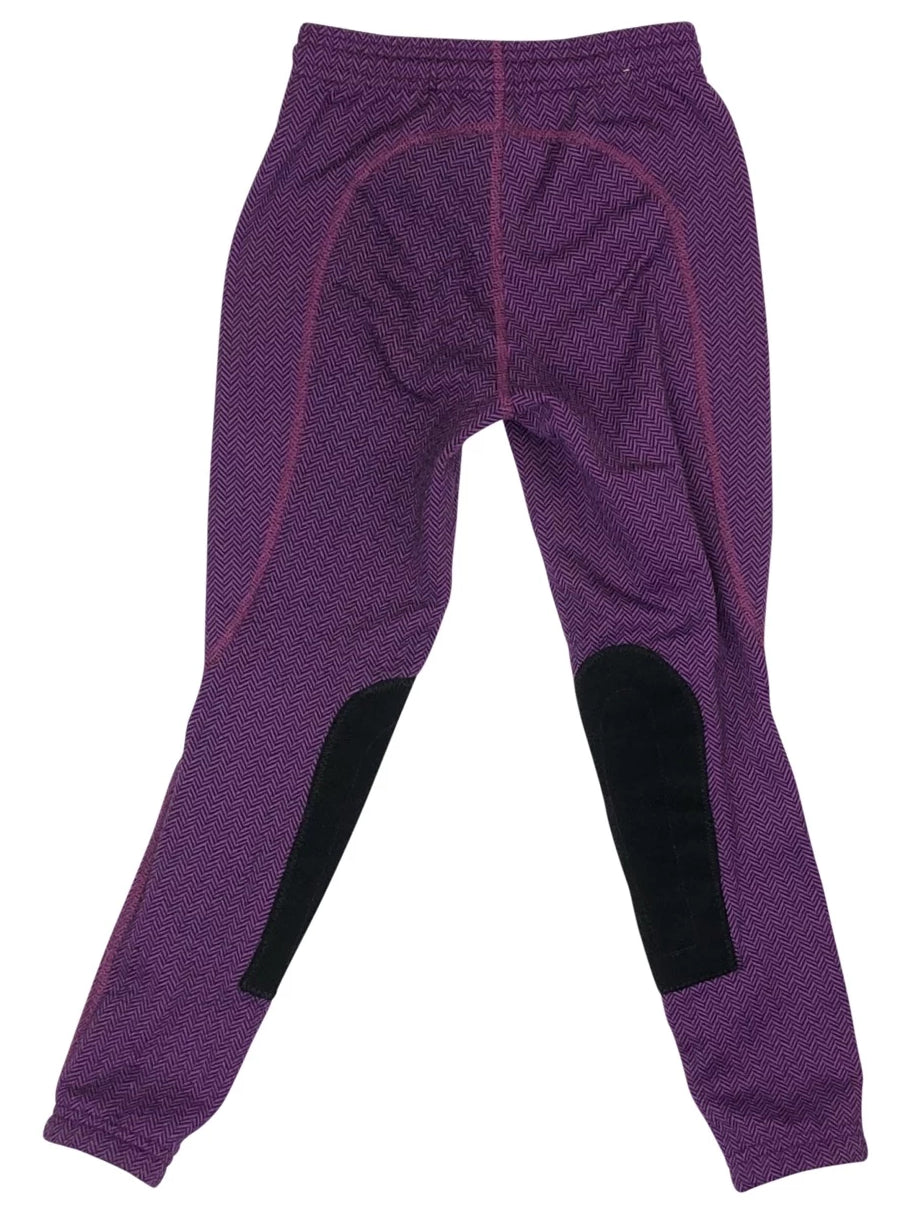 Back view Kerrits Fleece Performance Riding Tight in Purple Herringbone