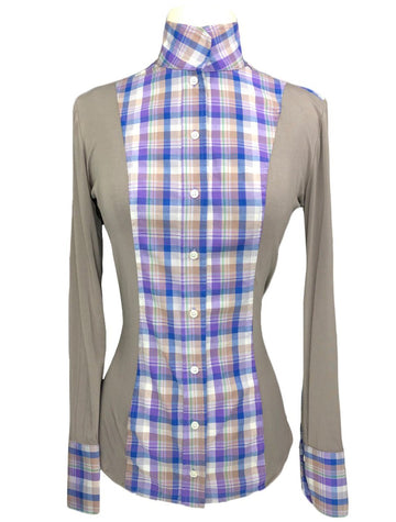 Le Fash Open Placket Shirt in Taupe/Purple & Royal Blue Plaid - Women's S