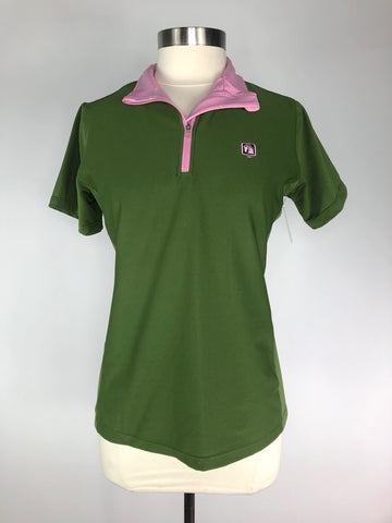 Romfh MicroActive Zip Polo in Green/Pink - Women's M