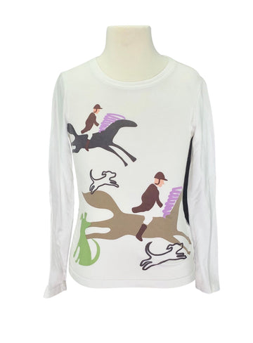 front view of Ariat Long Sleeve Fox Hunting Tee in White