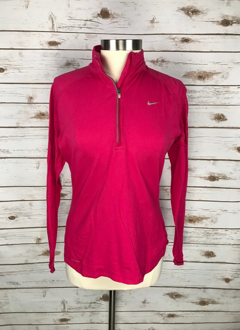 Nike Dri-Fit 1/4 Zip Shirt in Raspberry - Women's Large