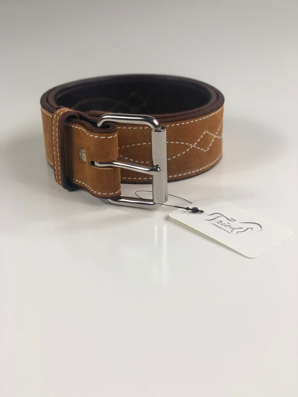 "Rebecca Ray 2"" Suede Bridle Stitch Belt in Cowboy Tan - XXS"