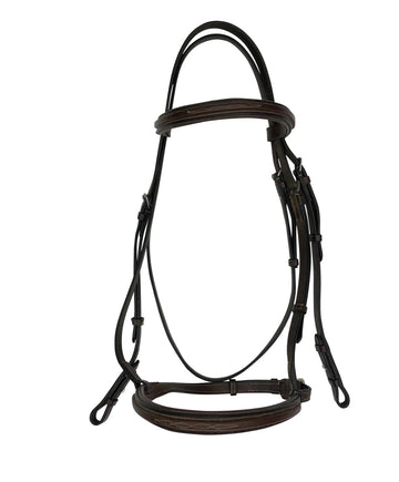 Padded Fancy Stitched Bridle in Havana