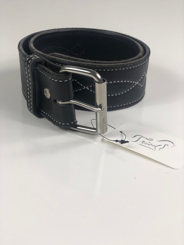 "Rebecca Ray 2"" Select Leather Bridle Stitch Belt in Black - XXS"