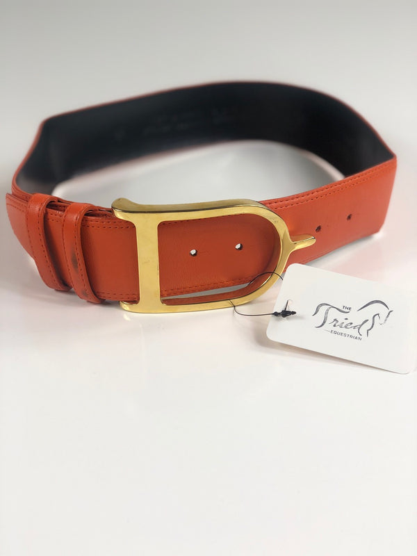 Sandy Duftler Designs Spur Belt in Orange Lambskin/Gold - 28