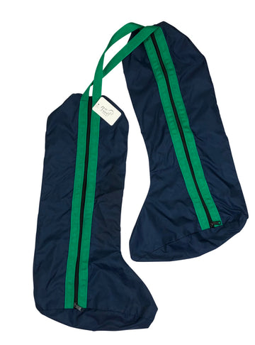 Dover Saddlery Two-Piece Boot Bag in Navy with green trim
