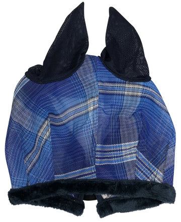 Kensington Fly Mask With Ears in Blue Plaid