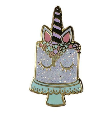 NWT Baking Time Club Unicorn Cake Pin in White Glitter - One Size