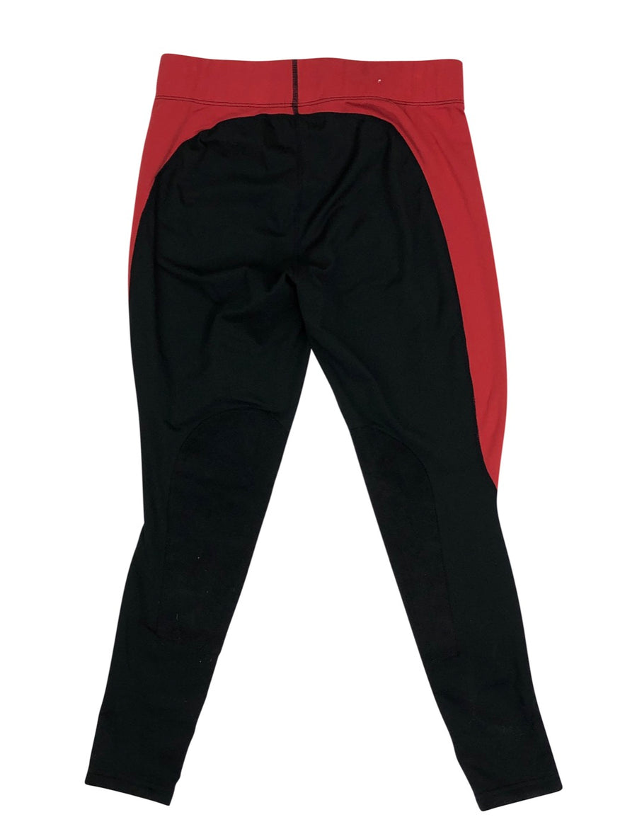 Back of Kerrits Flow-Rise Performance Tights in Black and Red