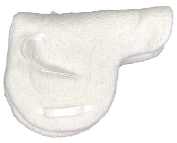 Left side of Fleeceworks Full Fleece Saddle Pad in White