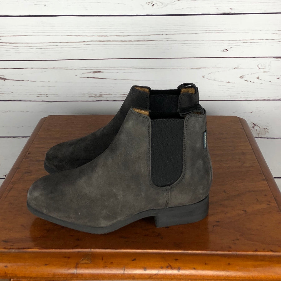 Celeris Letizia Chelsea Boot in Grey Suede - Left Side View