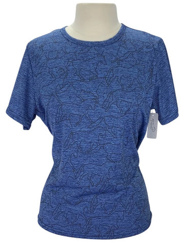 Kerrits Ice Fil Tech Tee in Blue with horse pattern