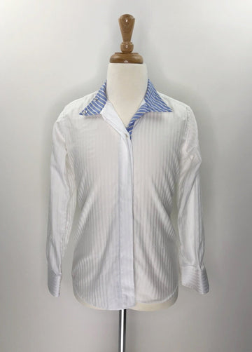 Beacon Hill Coolmax Wrap Collar Show Shirt in White/Blue Stripe- Front View
