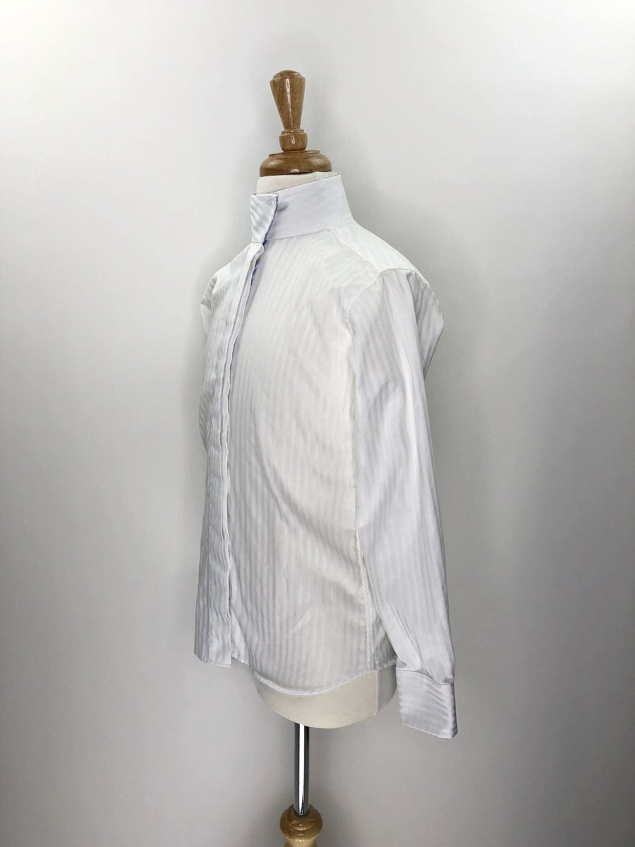 Beacon Hill Coolmax Wrap Collar Show Shirt in White/Blue Stripe- Left Side View