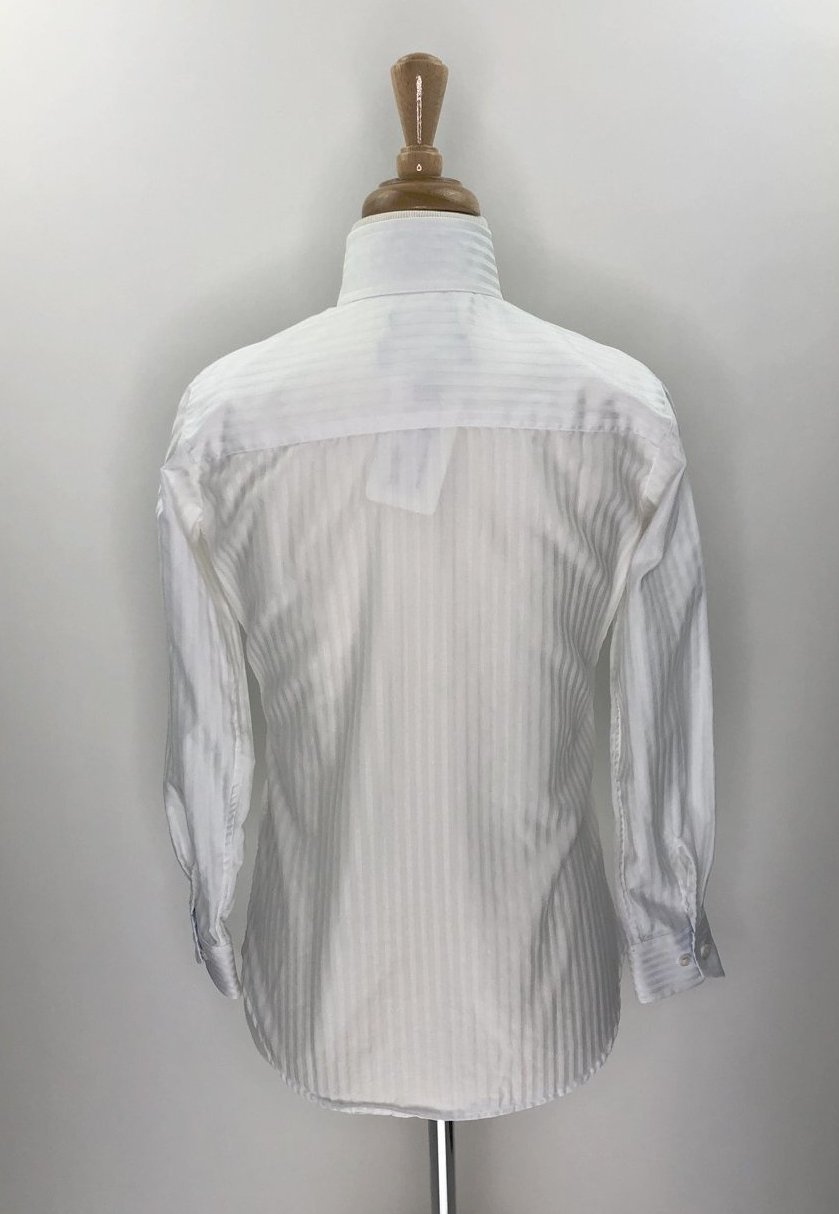Beacon Hill Coolmax Wrap Collar Show Shirt in White/Blue Stripe- Back View