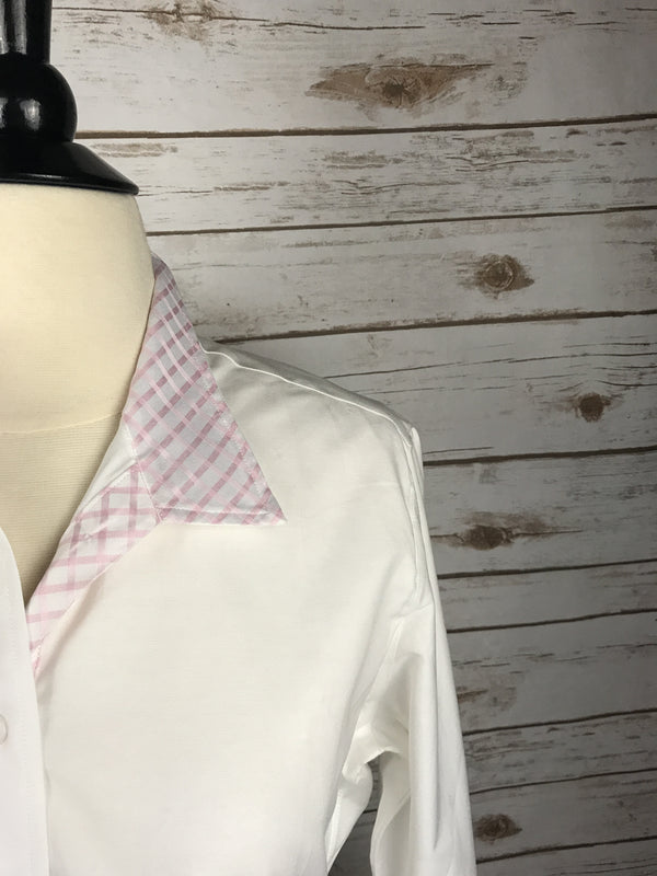 Hayward Classic Snap Collar Show Shirt in White & Pink Checkered - Women's 38