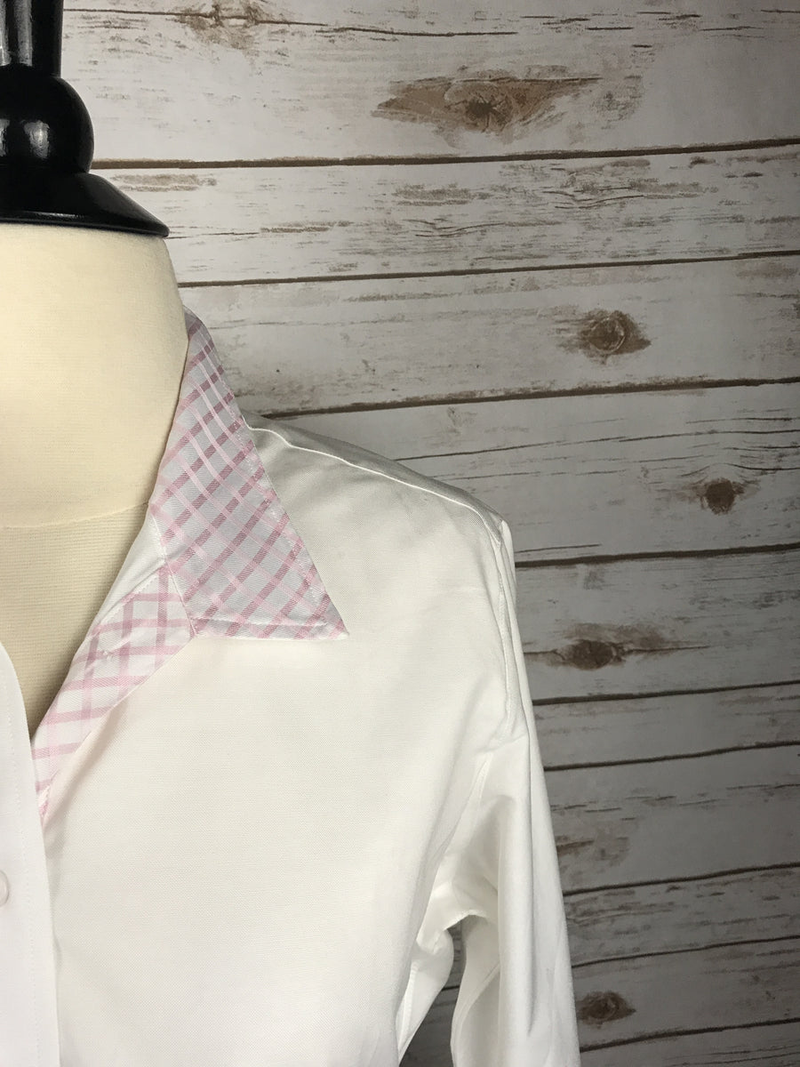 Hayward Classic Snap Collar Show Shirt in White & Pink Checkered -  Collar Open View